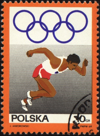 POLAND - CIRCA 1969: A post stamp printed in Poland shows runner, series, circa 1969