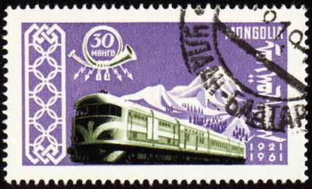 MONGOLIA - CIRCA 1961: stamp printed in Mongolia, shows train, series, circa 1961 Stock Photo - 10393753