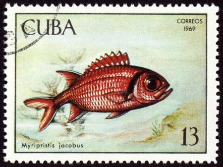 ichthyology: CUBA - CIRCA 1969: stamp printed in Cuba shows fish Myripristis jacobus, series Tropical fish, circa 1969