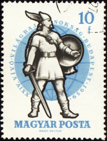 jackboots: HUNGARY - CIRCA 1959: A post stamp printed in Hungary shows Warrior of 10th Century, series, circa 1959