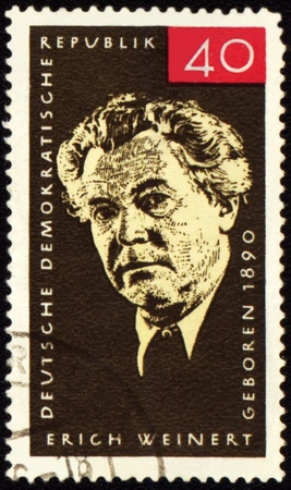 public figure: GDR - CIRCA 1965: A stamp printed in GDR (East Germany) shows german writer and public figure Erich Weinert (1890-1953), circa 1965