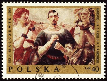 POLAND - CIRCA 1960s: a stamp printed in Poland, shows picture of Polish painter Jacek Malczewski (1854-1929), circa 1960s Stock Photo