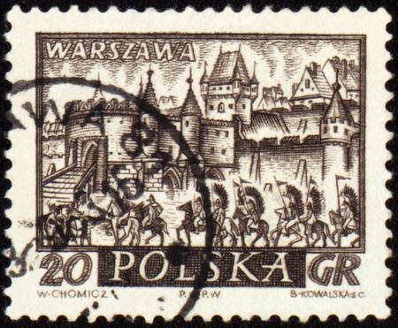 cavalry: POLAND - CIRCA 1960: a stamp printed in Poland, shows medieval town of Warsaw with cavalry, circa 1960