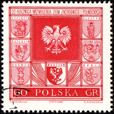 wroclaw: POLAND - CIRCA 1965: a stamp printed in Poland, shows arms of cities in Poland, circa 1965 Stock Photo