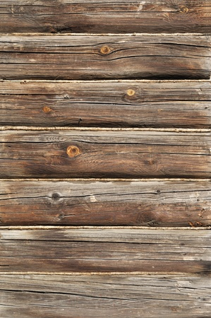 Close up of weathered log wall background photo