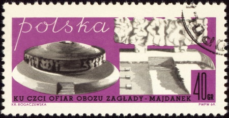 death camp: POLAND - CIRCA 1969: A post stamp printed in Poland, devoted to victims of the Death Camp - MAJDANEK, circa 1969