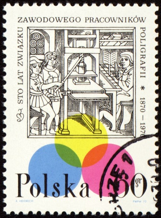 POLAND - CIRCA 1970: a stamp printed in Poland, shows medieval printing office, devoted to one hundred anniversary of printing workers trade union, circa 1970 photo