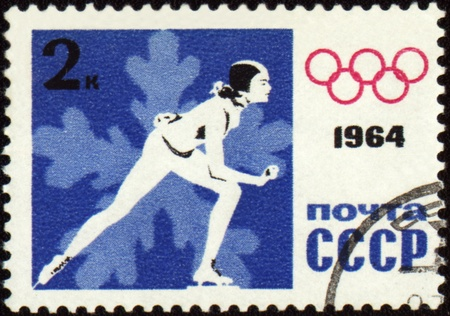 USSR - CIRCA 1964: A post stamp printed in USSR shows skater, devoted to the Olympic Winter Games in Innsbruck, series, circa 1964