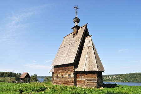 Wooden church of the Resurrection of Christ on the Levitan's Mount. Ples, Russia Stock Photo - 11791896