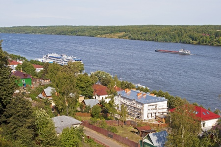 View on the Volga River with the Cathedral Hill in Ples, Russia Stock Photo - 11968180