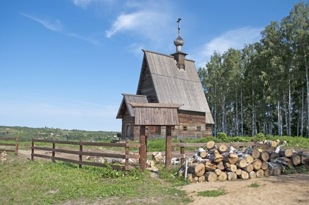 churchyard: Wooden church of the Resurrection of Christ on the Levitans Mount. Ples, Russia