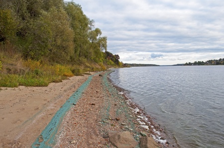 Coloring chemical waste on the Volga River