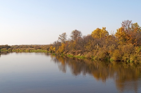 Sunset on the Klyazma river in autumn, Russia Stock Photo