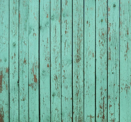 chipped: Close up of old green wooden fence panels