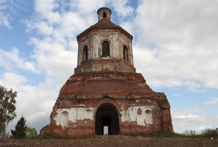 Ruined church in the village of Gari, Yaroslavl region, Russia photo