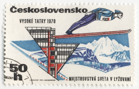 CZECHOSLOVAKIA - CIRCA 1970  A post stamp printed in Czechoslovakia shows ski jumper, dedicated to the  World Cup in skiing in High Tatras, series, circa 1970