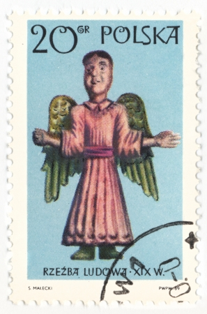 POLAND - CIRCA 1969  a stamp printed in Poland, shows Angel statue, series  Folk sculpture , circa 1969