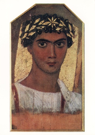 encaustic: USSR - CIRCA 1976  Postcard printed in the USSR shows picture  A young man in a gold wreath , Egypt, Fayum  II century AD , circa 1976