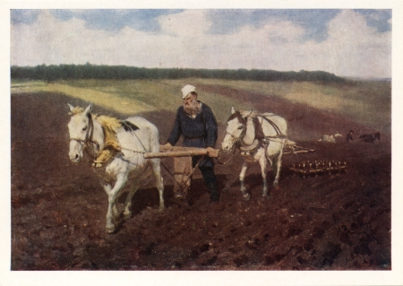 USSR - CIRCA 1976  Postcard printed in the USSR shows picture  Leo Tolstoy at the plow  by russian painter Ilya Repin  1844-1930 , circa 1976