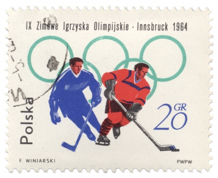 POLAND - CIRCA 1964  A post stamp printed in Poland shows ice hockey, devoted to the Winter Olympic Games in Innsbruck, series, circa 1964