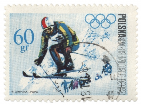 POLAND - CIRCA 1968  A post stamp printed in Poland shows ski jumper, dedicated to the Olympic Winter Games in Grenoble, series, circa 1968