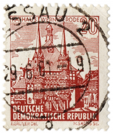 GDR - CIRCA 1961  A stamp printed in GDR  East Germany  shows Town Hall of ancient German town Wernigerode, circa 1961 Editorial