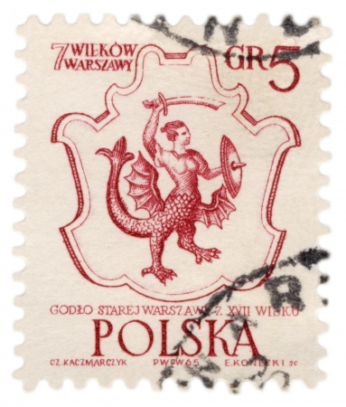buckler: POLAND - CIRCA 1965  A stamp printed in Poland, shows Coat of old Warsaw from the 17th century, series, circa 1965 Stock Photo
