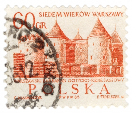 POLAND - CIRCA 1965  A stamp printed in Poland shows Warsaw Barbican  semicircular fortified outpost , circa 1965 Stock Photo - 17175670