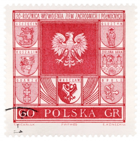 wroclaw: POLAND - CIRCA 1965  A stamp printed in Poland, shows arms of Polish cities, series, circa 1965 Stock Photo