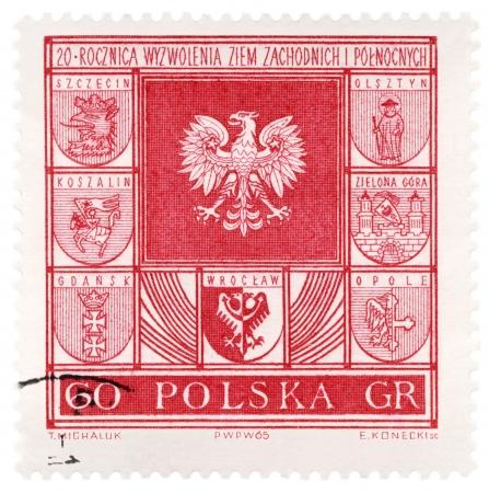 gdansk: POLAND - CIRCA 1965  A stamp printed in Poland, shows arms of Polish cities, series, circa 1965 Stock Photo