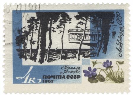 jurmala: USSR - CIRCA 1967  A stamp printed in the USSR, shows Jurmala resort in Latvia, series, circa 1967 Editorial