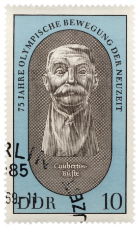 coubertin: GDR - CIRCA 1970  A stamp printed in GDR  East Germany  shows portrait of Pierre de Coubertin, founder of modern Olympic Games, series, circa 1970