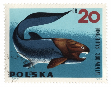 POLAND - CIRCA 1966  stamp printed in Poland shows a prehistoric fish Dinichthys, series  Zoolith , circa 1966 Stock Photo - 20145601