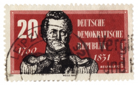 GDR - CIRCA 1960  A stamp printed in GDR  East Germany  shows August Neidhardt von Gneisenau  1760-1831 , field marshal of Prussian Army, circa 1960 Editorial