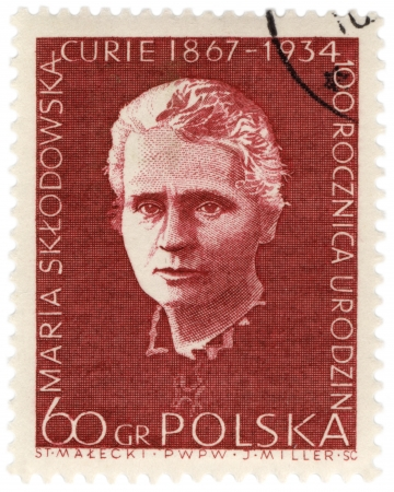 POLAND - CIRCA 1967  A stamp printed in Poland shows portrait of Nobel prize winner polish scientist Marie Curie, circa 1967
