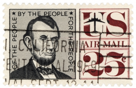 USA - CIRCA 1959  A stamp printed in USA shows U S  President Abraham Lincoln  1809-1865 , circa 1959 Stock Photo - 20132968
