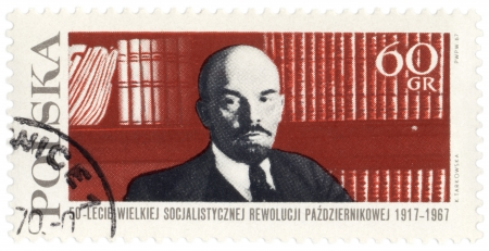 ideological: POLAND - CIRCA 1967: A stamp printed in Poland shows Russian Communist leader Vladimir Lenin on bookshelf background, circa 1967