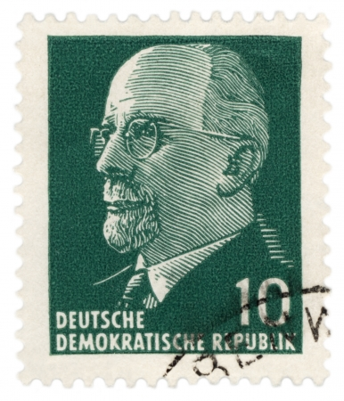 ideological: GDR - CIRCA 1961  A stamp printed in GDR  East Germany  shows East German Chairman Walter Ulbricht portrait, circa 1961 Editorial