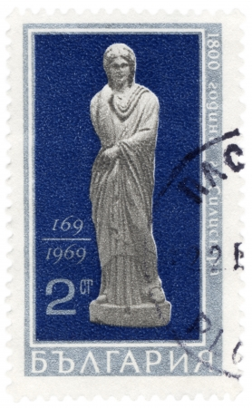 bulgaria girl: BULGARIA - CIRCA 1969  A stamp printed in Bulgaria shows antique woman statue, found in Silistra, 169 AD, ciirca 1969