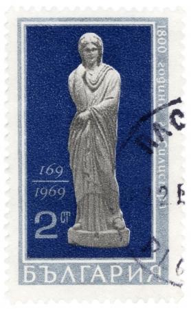 antique woman: BULGARIA - CIRCA 1969 Un sello impreso en Bulgaria muestra mujer estatua antigua, que se encuentra en Silistra, 169 AD, ciirca 1969