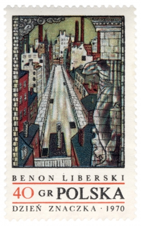 graphic artist: POLAND - CIRCA 1970: a stamp printed in Poland, shows picture of polish painter and graphic artist Benon Liberski (1926-1983), circa 1970 Editorial