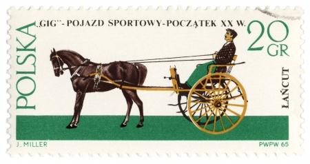gig: POLAND - CIRCA 1965: a stamp printed in Poland shows old carriage - gig (XX century), circa 1965