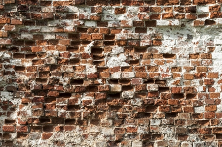Fragment of old red brick wall background photo