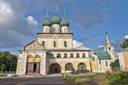 Resurrection Cathedral (1652-1678) at sunset, Tutaev town, Yaroslavl region, Russia
