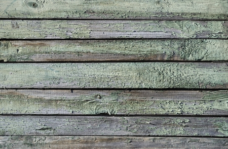 Fragment of aged wooden boards background with peeling paint photo