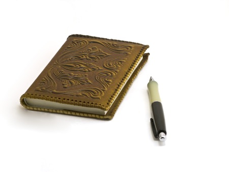 pocketbook: Pen and brown pocket-book on white background