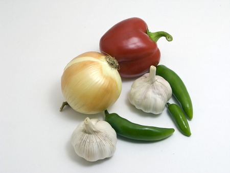 Garlic,onion,pepper on white background photo