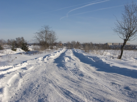 apparent: Snow-covered winter road, Russia