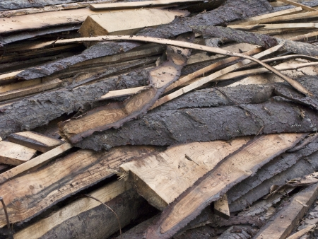 tailings: Close up of rough wooden boards pile Stock Photo