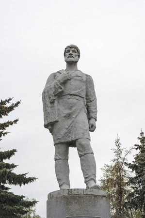 Monument to Russian traveler Semyon Dezhnev in Veliky Ustyug, North Russia Stock Photo